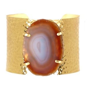 Natural agate slice gold hammered cuff